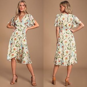 New Lulus Beige Floral Print Wrap Midi Dress